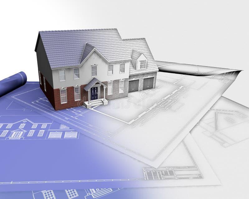 3D представляют дома на светокопиях с половиной в участке эскиза бесплатная иллюстрация