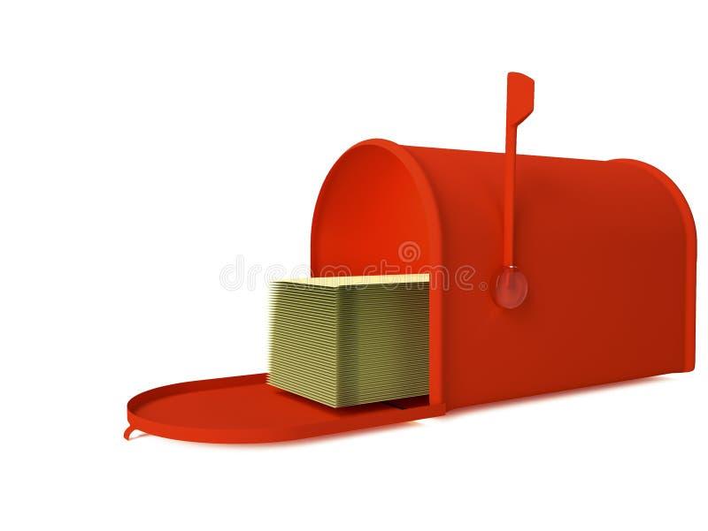 3d представляют почтовый ящик изолированный на белизне иллюстрация штока