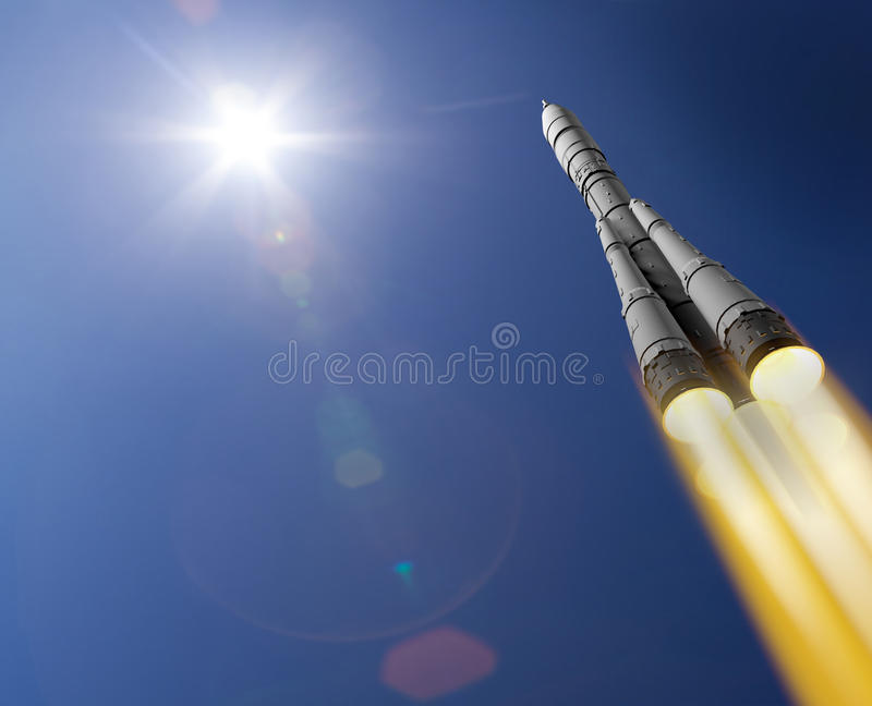 3d представляют ракету иллюстрация вектора