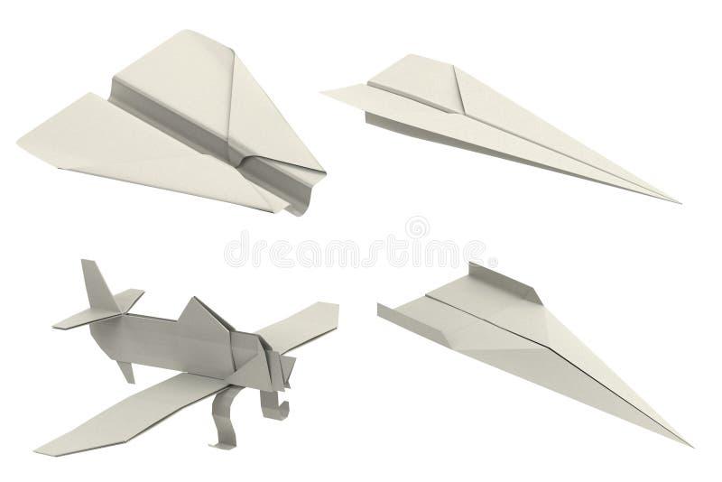 3d представляют самолетов origami иллюстрация вектора