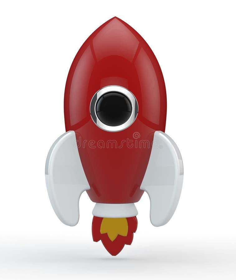 3D представляют символической ракеты покрашенной в красном цвете с пламенами бесплатная иллюстрация