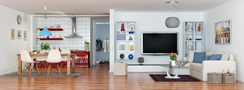 3d представляют современного, роскошный, ярко квартира просторной квартиры иллюстрация штока