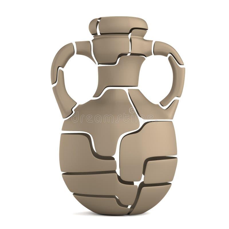 3d представляют сломленной вазы иллюстрация штока