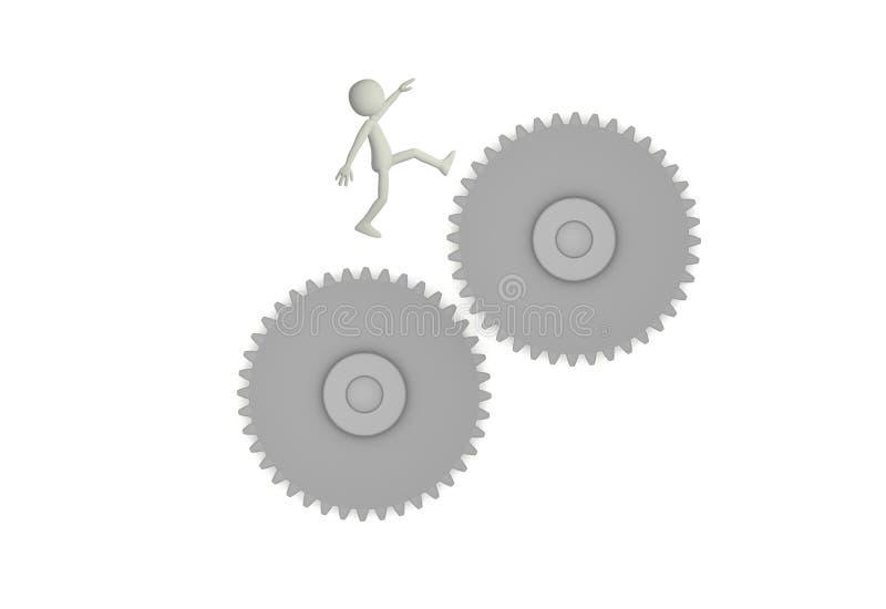 3d представляют характера скача между 2 шестернями иллюстрация вектора