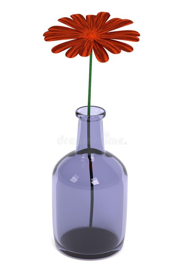3d представляют цветка в баке иллюстрация вектора