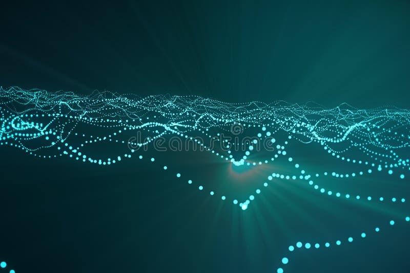 3d представляя абстрактную полигональную предпосылку волны с соединяясь точками и линиями Структура соединения Компьютер HUD пода стоковое фото
