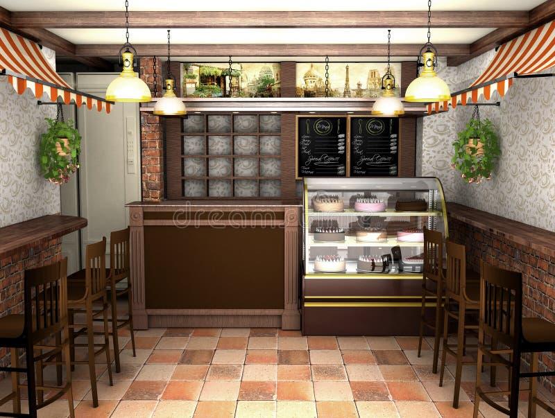 3d представляя интерьер кафа в французском стиле иллюстрация вектора