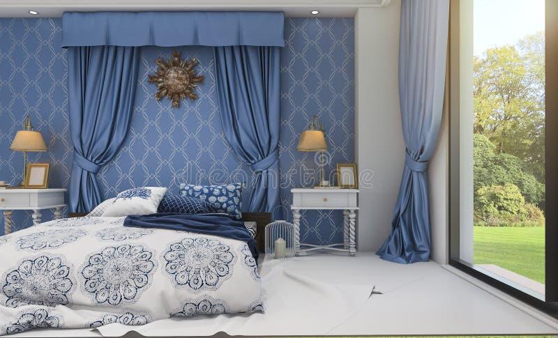 Download 3d представляя красивую голубую классическую спальню около зеленого поля Иллюстрация штока - иллюстрации насчитывающей дом, lifestyle: 81808485