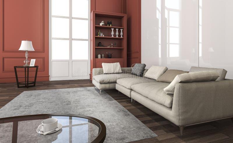 3d представляя классическую красную живущую комнату с красивой мебелью иллюстрация штока