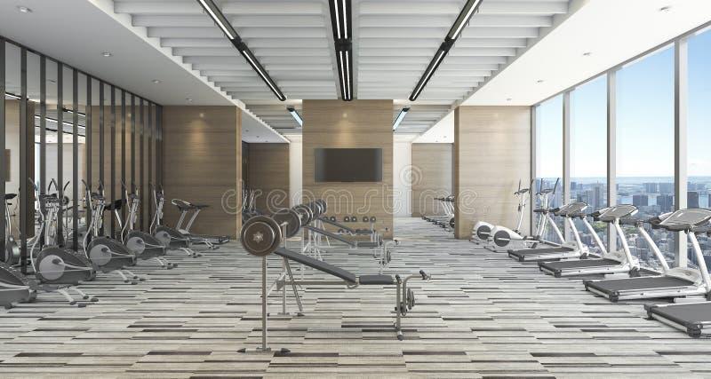 3d представляя современную тренировку и спортзал стиля с видом на город иллюстрация штока