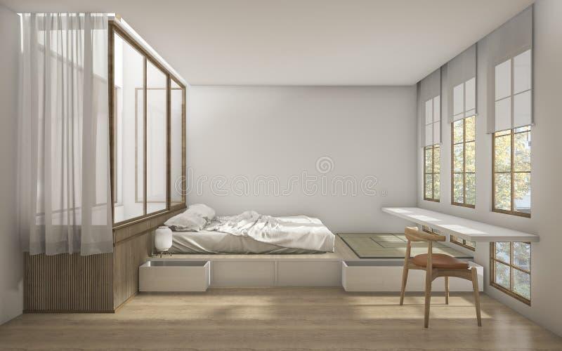 3d представляя спальню японского стиля с минимальным украшением стоковое фото rf