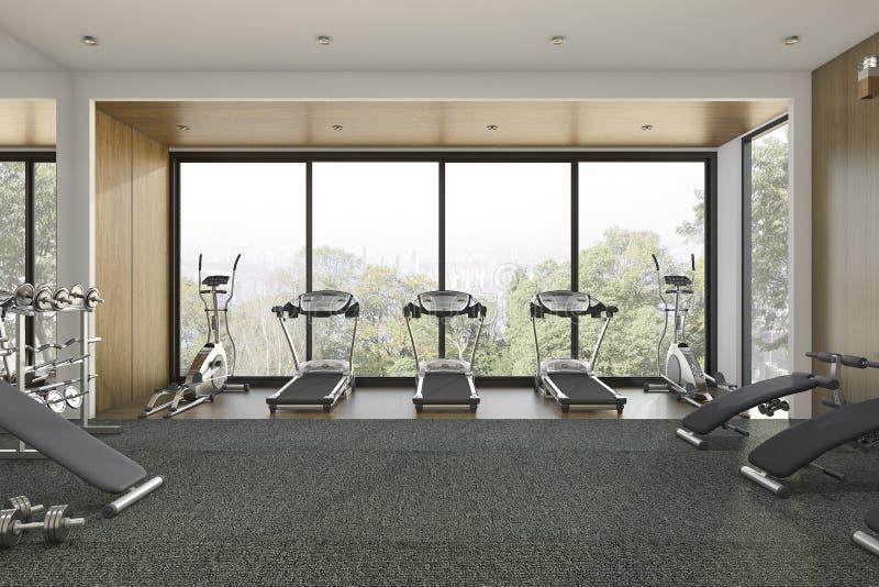 3d представляя спортзал славного древесного представления деревянный и тренируя комнату стоковая фотография