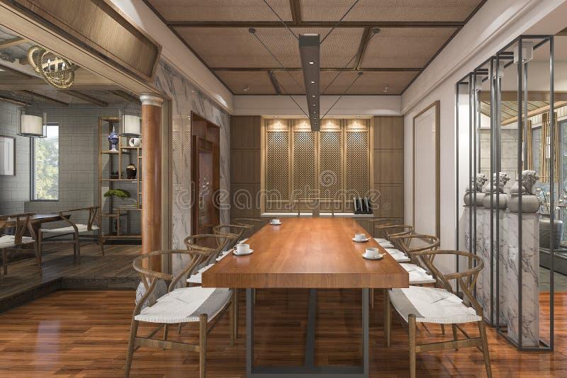 3d представляя славную китайскую комнату традиционного стиля с обеспечением иллюстрация штока
