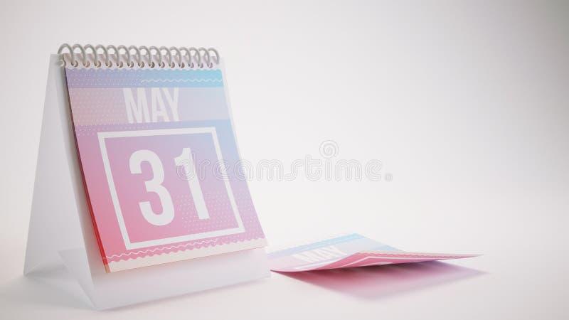 3D представляя ультрамодный календарь цветов на бело- может 31 бесплатная иллюстрация