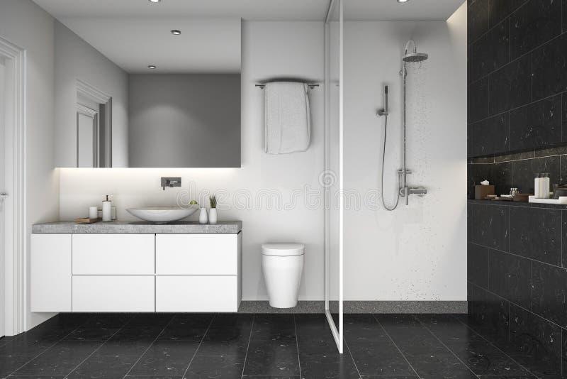 3d представляя черные ливень и ванную комнату плитки стоковое фото rf