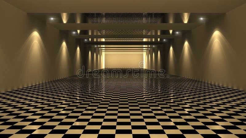 3D представляя Checkered комнату иллюстрация вектора