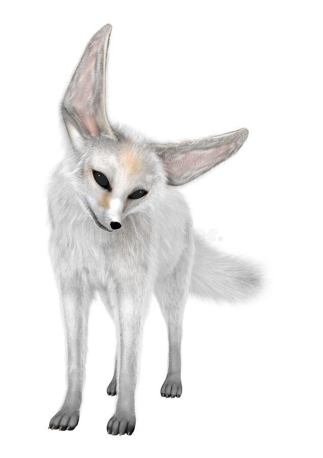 3D представляя Fox Fennec на белизне стоковые изображения