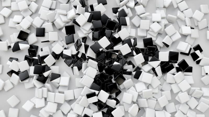 3D придают квадратную форму плиткам разбросанным на пол, предпосылку перевода 3D иллюстрация штока