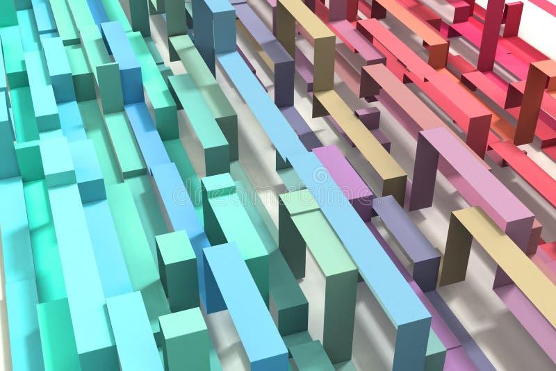 3D проиллюстрировало пастельной покрашенную радугой геометрическую предпосылку ленты стоковое фото rf