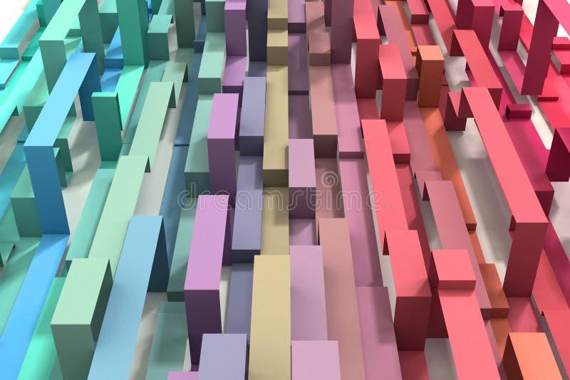 3D проиллюстрировало пастельной покрашенную радугой геометрическую предпосылку ленты стоковое фото
