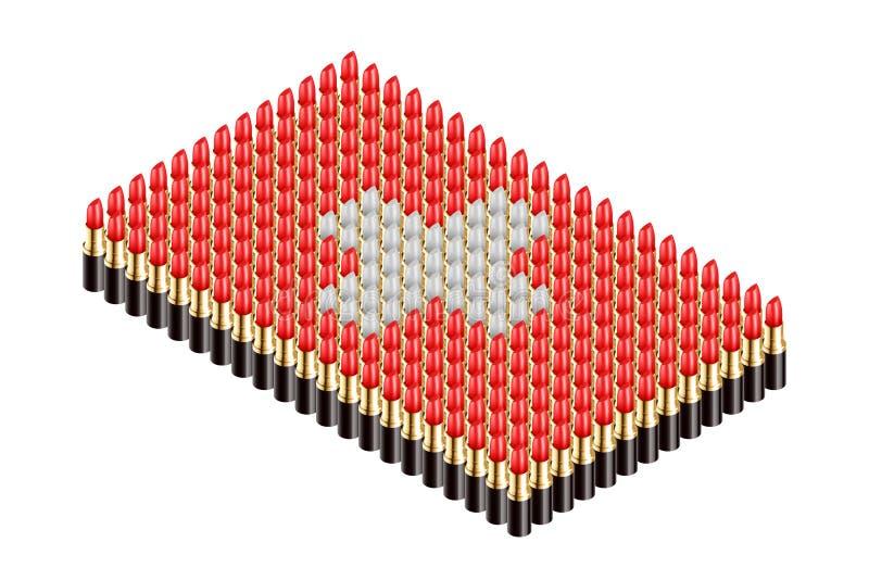 3D равновеликая губная помада, иллюстрация дизайна концепции формы национального флага Швейцарии иллюстрация вектора
