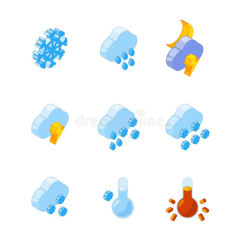 3D равновеликое различных символов погоды иллюстрация штока