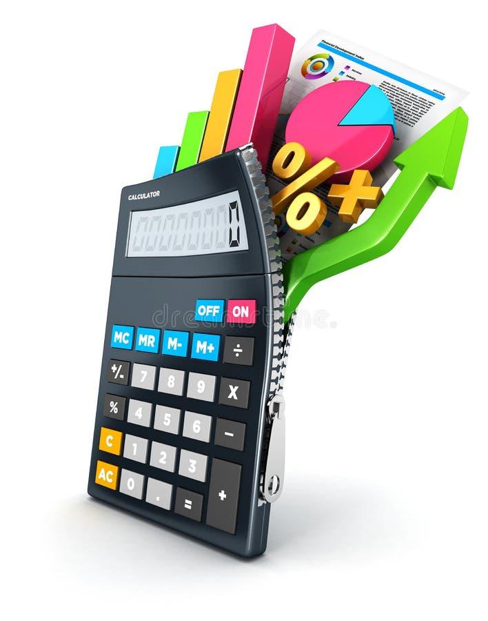 3d раскрывают калькулятор иллюстрация штока