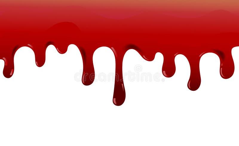 D рвя кровь Пятно хеллоуина красное стравливающое, кровоточить кровопролитные потеки, реалистическая иллюстрация вектора иллюстрация штока