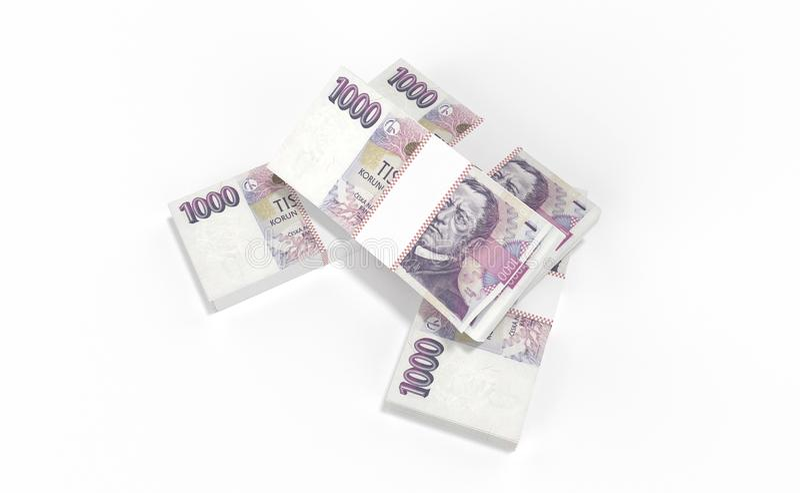 3D реалистические представляют денег чехословакского koruna ceska кроны национальных в чехии стоковое фото rf