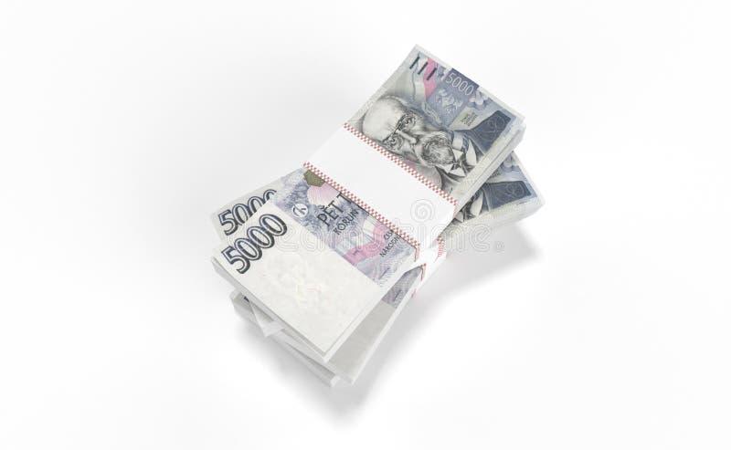 3D реалистические представляют денег чехословакского koruna ceska кроны национальных в чехии стоковое фото