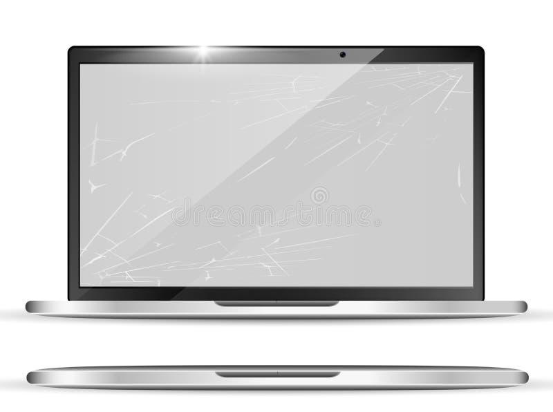 3d реалистический сломленный экран - тетрадь с отказами на дисплее Разрушенный современный ноутбук Объект цифров также вектор илл иллюстрация штока