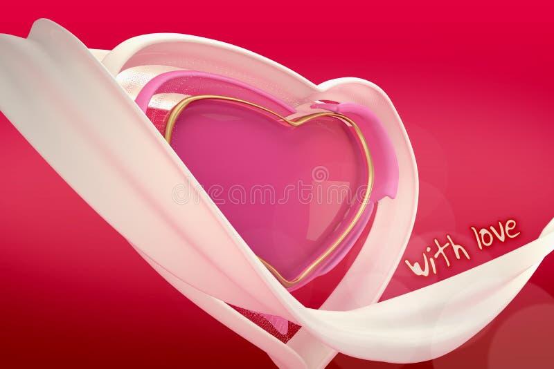 3d резюмируют сердце влюбленности на предпосылке градиента стоковое фото rf