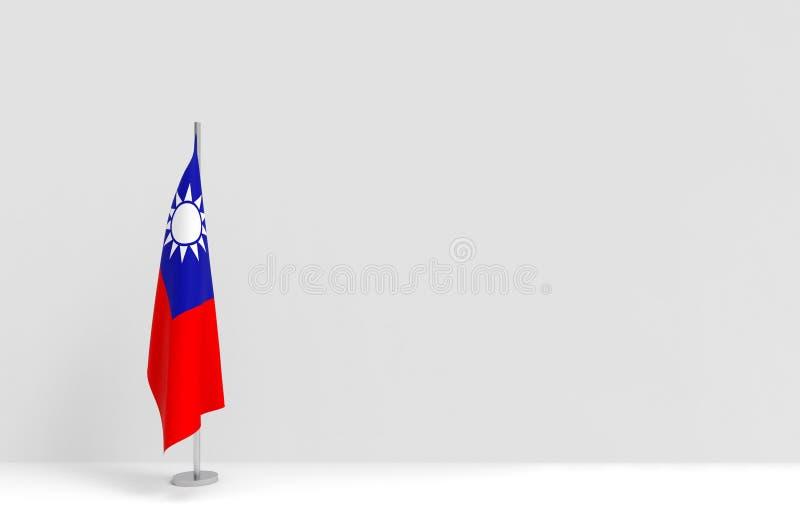 3d рендеринг складывающийся подиум тайваньского национального флага на фоне пустых серо-цементных стен иллюстрация вектора