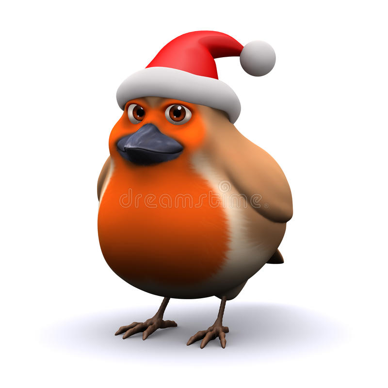 3d Робин носит шляпу Санта Клауса иллюстрация штока