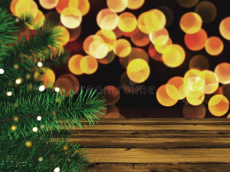 3D-рождественская елка на деревянном столе и фоном для бокетов стоковое изображение