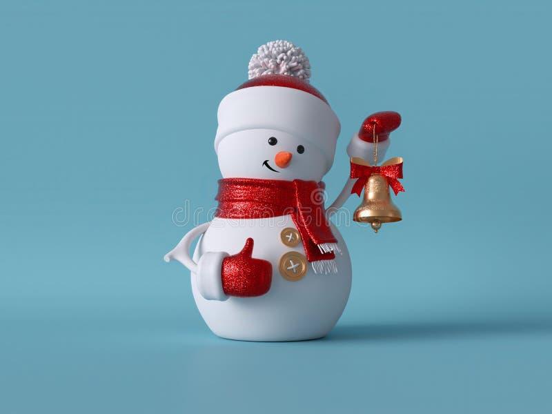 3d рождественский снеговик стоит, держа золотой колокол Изображение зимнего праздника изолировано от синего фона Забавный праздни иллюстрация штока