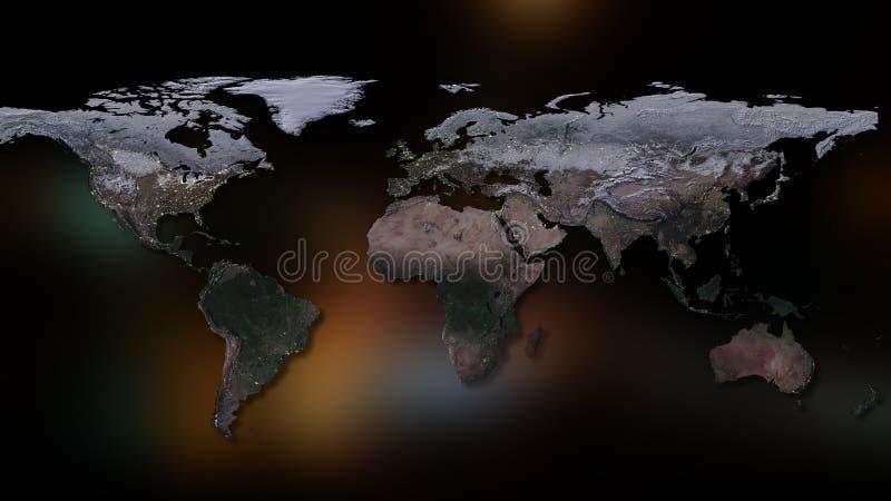 3d создало изображение иллюстрации земли большинств перевод планеты части NASA Вы можете увидеть континенты, города Элементы этог стоковые изображения rf