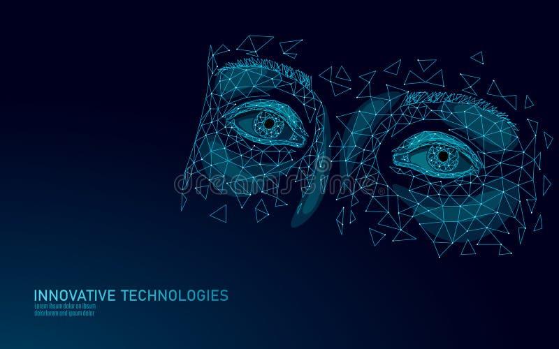 3D-технология для глаз, низкополимерная конструкция Обращение с кожей Интернет-пространство для зависимости от видеоигр иллюстрация вектора
