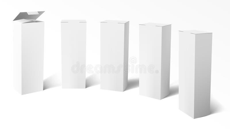 3D установило реалистических вертикальных высокорослых белых картонных коробок бесплатная иллюстрация