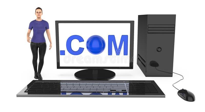 3d характер, женщина стоя близко к компьютеру, с com показанный в экране монитора иллюстрация штока