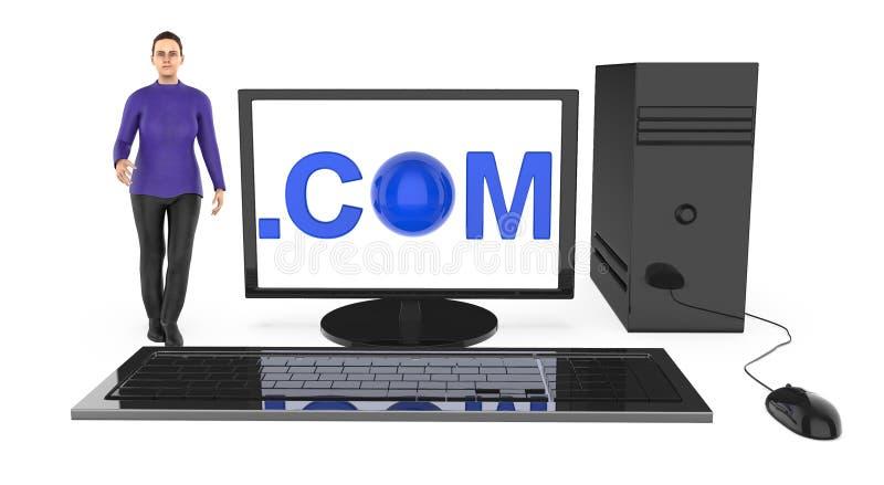 3d характер, женщина стоя близко к компьютеру, с com показанный в экране монитора иллюстрация вектора