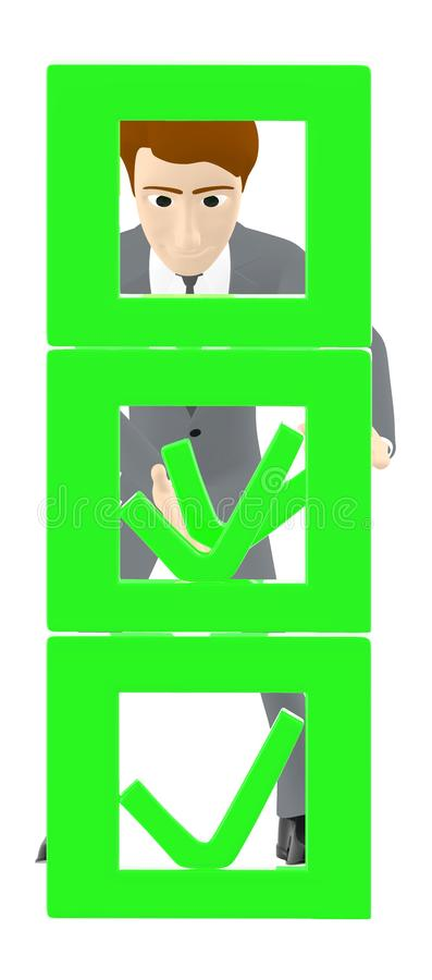3d характер, знак тикания человека, столбец иллюстрация штока