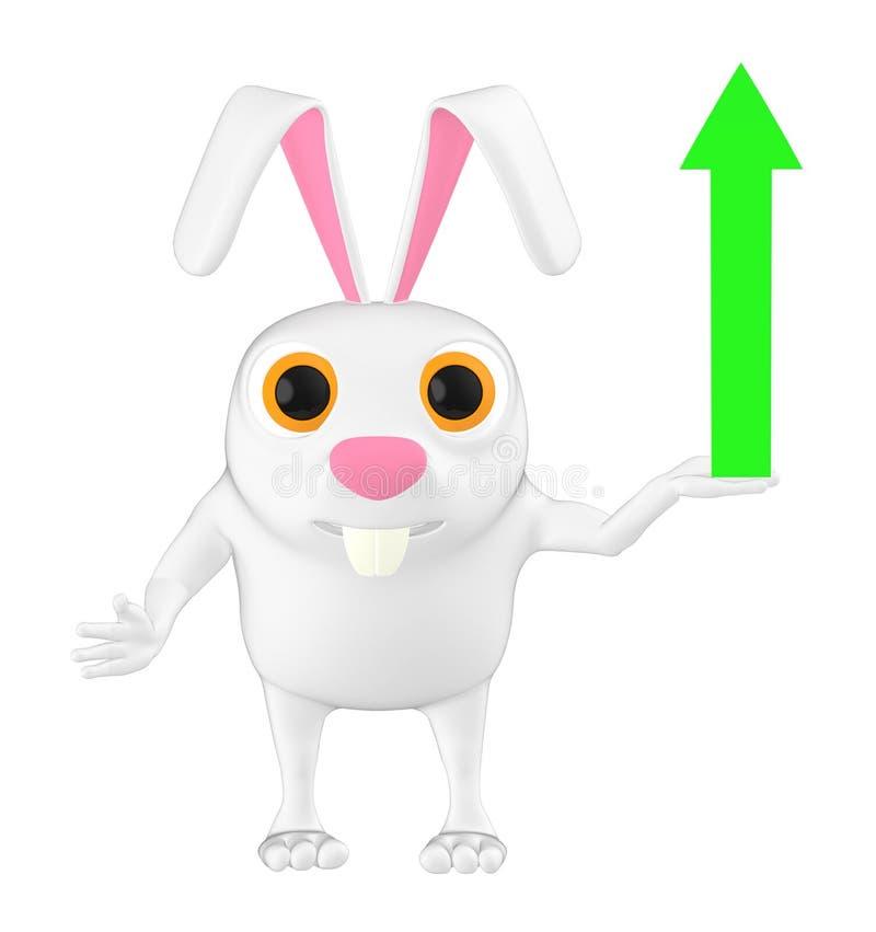 3d характер, кролик показывая верхнюю стрелку направления иллюстрация штока