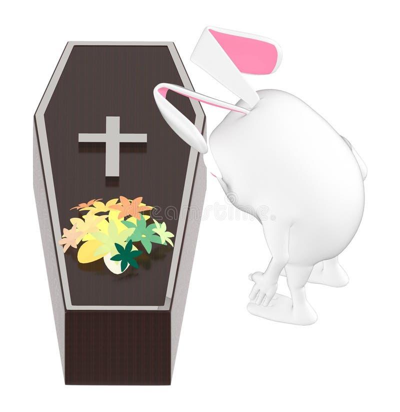 3d характер, кролик смотря деревянный гроб с цветком na górze его бесплатная иллюстрация