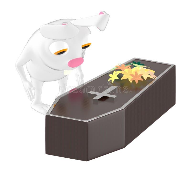 3d характер, кролик смотря деревянный гроб с цветком na górze его иллюстрация вектора