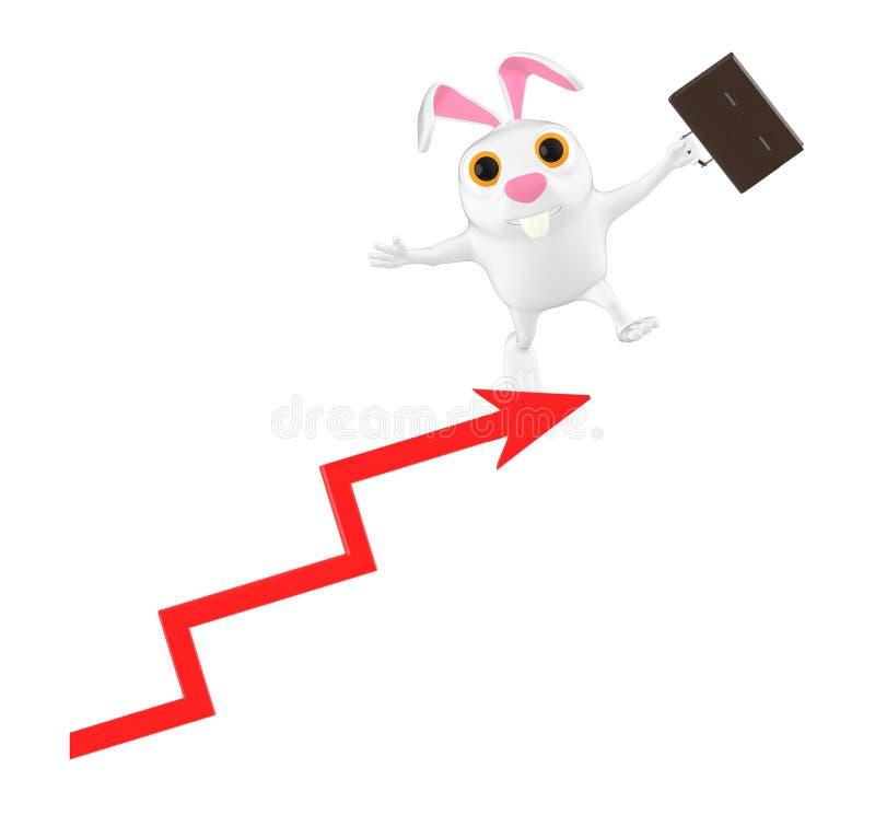3d характер, кролик стоя над верхней частью диаграммы стрелки иллюстрация штока