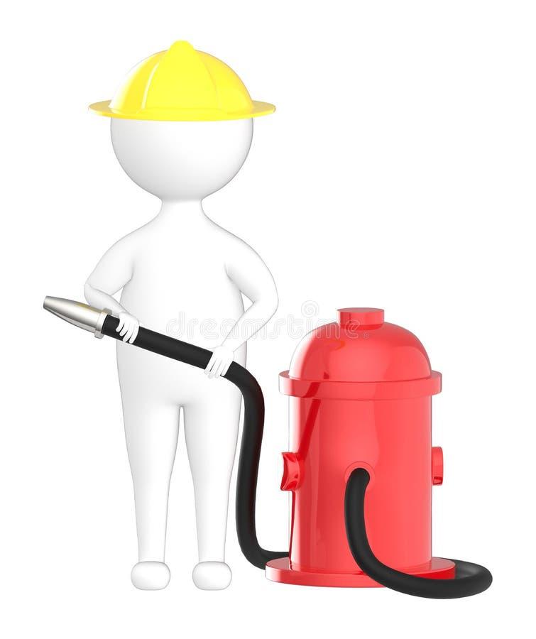 3d характер, работник огня человека держа шланг жидкостного огнетушителя бесплатная иллюстрация