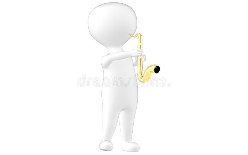 3d характер, саксофон человека иллюстрация штока