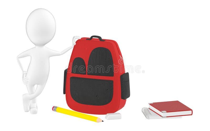 3d характер, склонность к сумке школы, карандаш человека, ластик, блокнот, записывает лежать на поле бесплатная иллюстрация