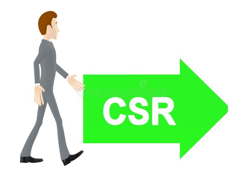 3d характер, человек идя к пути направления стрелки текста csr иллюстрация штока